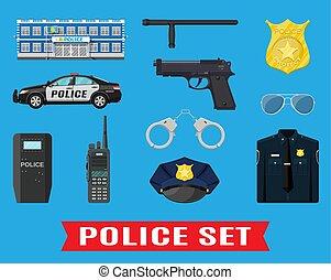 equipamento, set., polícia
