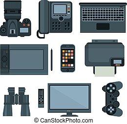 equipamento, .set, vetorial, escritório, ícone