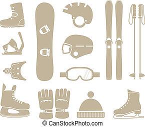 equipamento, silhuetas, inverno, cobrança, esportes
