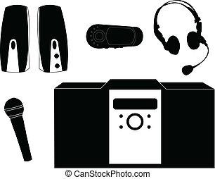 equipamento, silueta, música