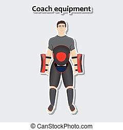 equipamento, treinador, homem