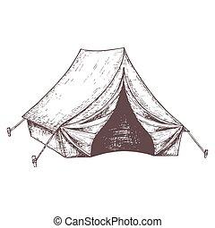 equipamento, turismo, acampamento