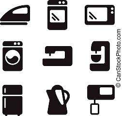 equipamento, vetorial, ícones