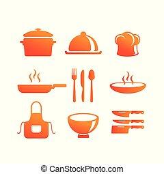 equipamento, vetorial, cozinha, ícone