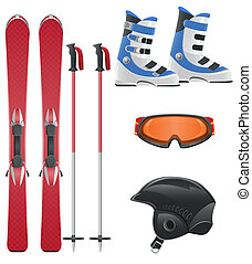 equipamento, vetorial, jogo, ícone, esqui