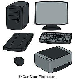 equipamento, vetorial, jogo, computador