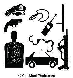 equipamento, vetorial, jogo, polícia
