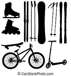 equipamento, vetorial, silueta, ilustração, esportes