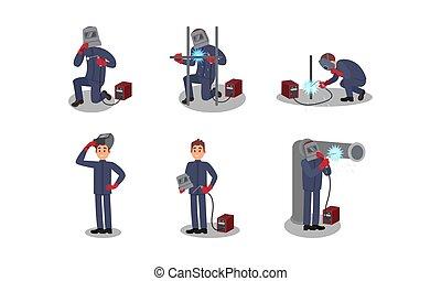 equipamento, vetorial, soldadura, soldador, trabalhando, ilustrações, personagem