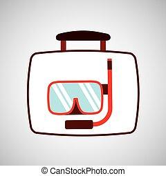 equipamento, viagem, conceito, snorkeling