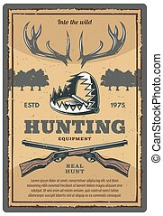 equipamento, vindima, vetorial, caça, cartaz