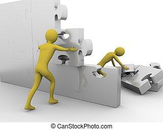 equipe, é, construir, um, jigsaw, parede