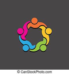 equipe, 5, conselho, grupo, logotipo