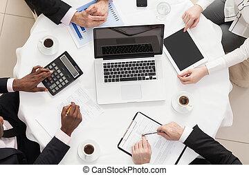 equipe affaires, à, a, réunion
