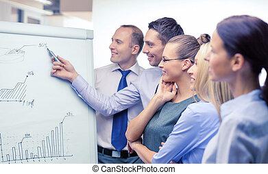 equipe affaires, à, chiquenaude, planche, avoir, discussion