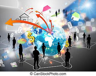 equipe affaires, à, social, média
