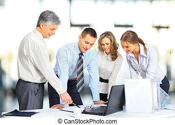 equipe affaires, avoir, réunion