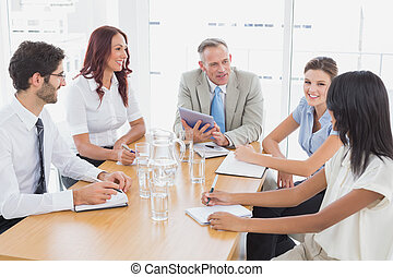 equipe affaires, dans, a, réunion