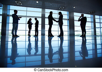 equipe affaires, dans, bureau