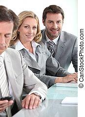 equipe affaires, dans, réunion