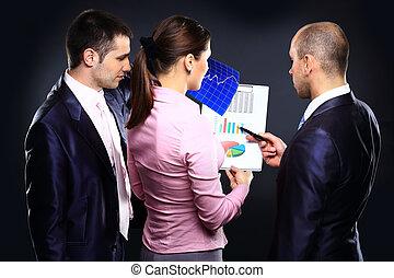 equipe affaires, discuter, pendant, les, réunion