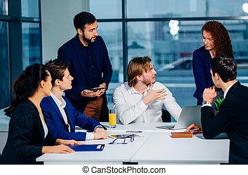 equipe affaires, et, directeur, dans, a, réunion