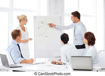 equipe affaires, fonctionnement, à, flipchart, dans, bureau