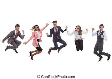equipe affaires, groupe, sauter, pour, reussite