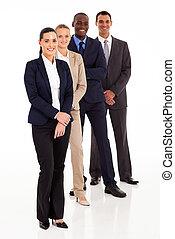 equipe affaires, plein portrait longueur, blanc