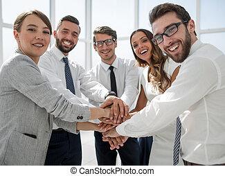 equipe affaires, projection, leur, unité