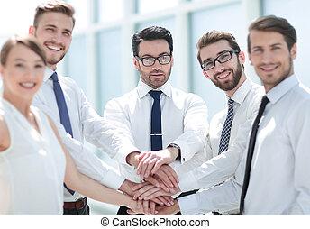 equipe affaires, projection, leur, unity.