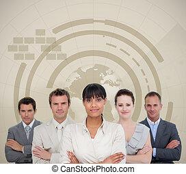 equipe affaires, sourire, charismatic