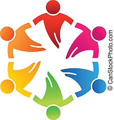 equipe, amigos, 6, desenho, logotipo