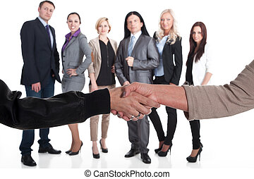 equipe, aperto mão, forte, negócio