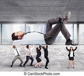 equipe, apoios, saliência, em, escritório