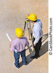 equipe, arquitetos, local, construção