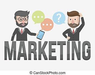 equipe comercializando, negócio, illustratio