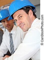 equipe, construção, Arquitetos, trabalhando, plano