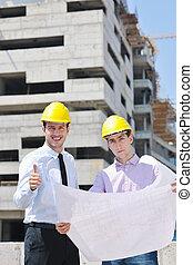equipe, de, arquitetos, ligado, local construção