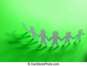 equipe, de, boneca papel, pessoas seguram mãos