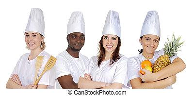 equipe, de, cozinha
