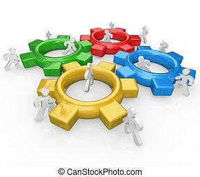 equipe, de, pessoas, empurrão, engrenagens, junto, trabalho equipe, sucesso