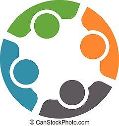 equipe, de, quatro, pessoas., conceito, de, grupo pessoas, reunião, colaboração, e, grande, work.