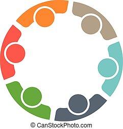 equipe, de, seis, pessoas., conceito, de, grupo pessoas, reunião, colaboração, e, grande, work.