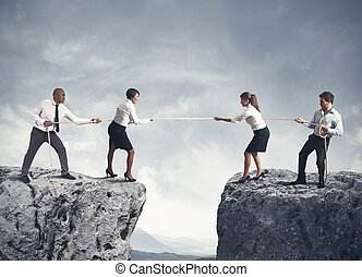 equipe, e, negócio, competição