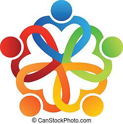 equipe, entrelaçado, corações, 5, logotipo