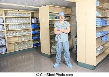 equipe funcionários médica, esterilização, mãos, e, braços,...