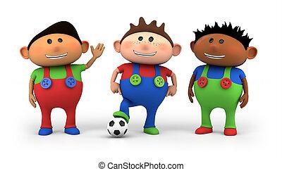 equipe, futebol, multiethnic, crianças