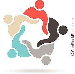 equipe, grupo pessoas, reunida, logotipo