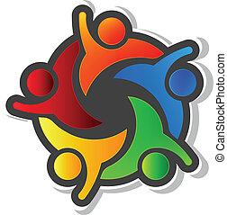 equipe, hi5, com, experiência preta, logotipo